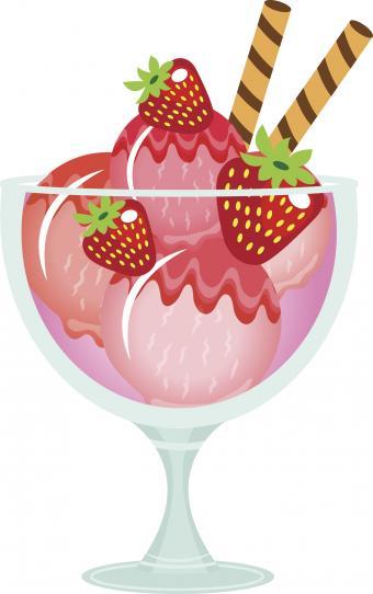 Ice cream and strawberries dessert