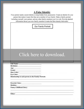 A False Identity Worksheet