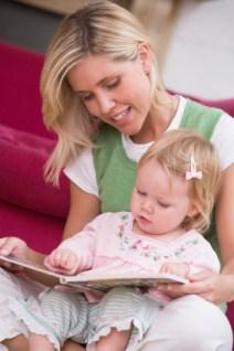 mom reading with toddler