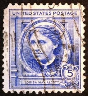 Postage stamp featuring portrait of Louisa May Alcott