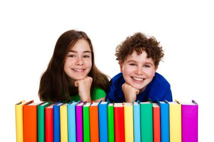 Children with colorful books