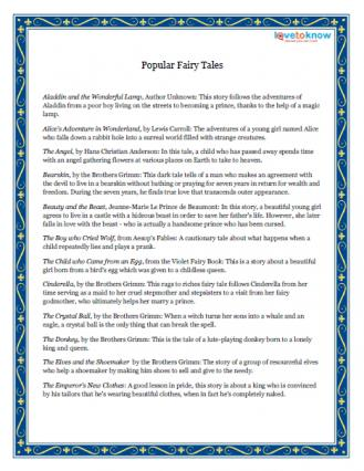 photo regarding Printable Fairy Tales identify Famed Fairy Stories LoveToKnow