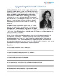 Reading comprehension worksheet Amelia Earhart
