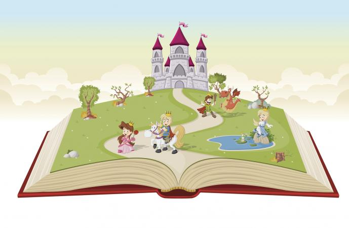 Open book with fairy tale characters