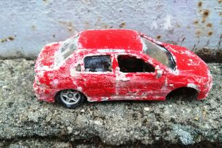 Broken toy car