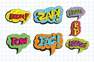 Sound effects speech bubbles