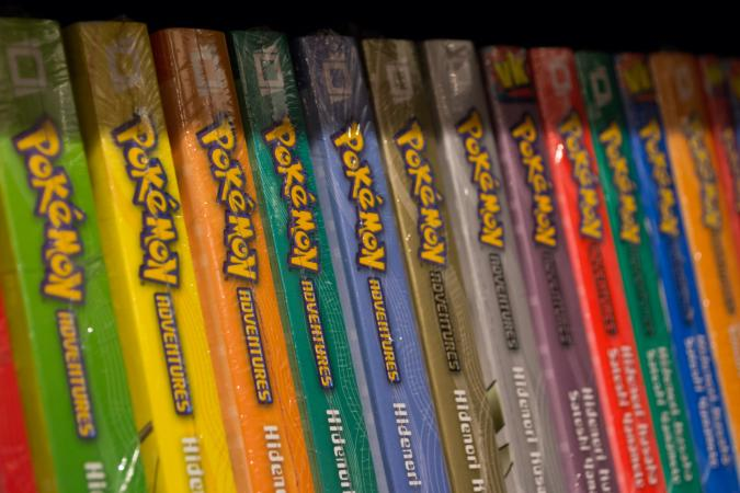 Pokemon books on store shelf
