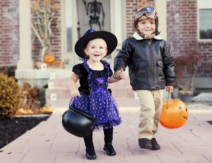 brother and sister dress up for Halloween