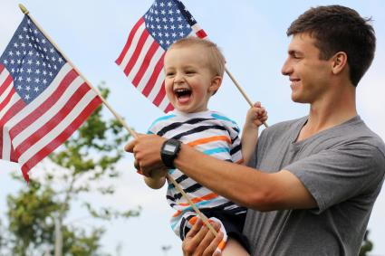Patriotic dad and son