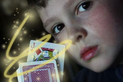 Kid with cards