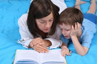 mom and child reading together