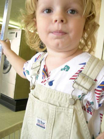 kid in overalls