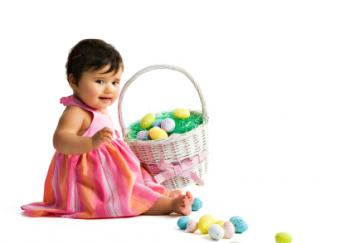 Baby and Easter basket