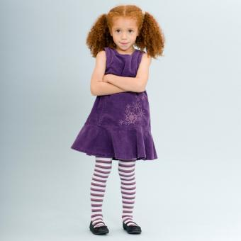 Girl wearing purple striped tights