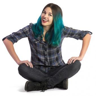 High school girl wearing black plaid shirt