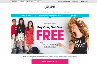 Screenshot of FabKids website