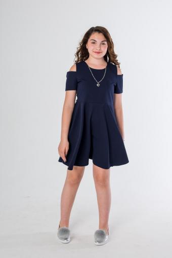 Cold Shoulder Navy Dress