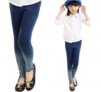 Abalaco Girls Kids Jeans Cotton Shading Denim Legging Stretch Waist Skinny Pants