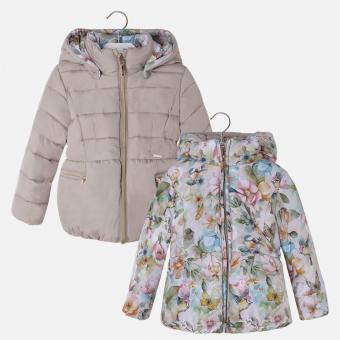 Mayoral Beige and Floral Reversible Puffer Coat