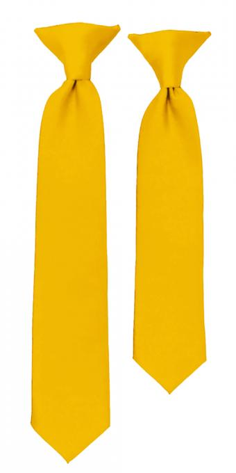 BOYS SOLID GOLDEN YELLOW CLIP ON TIE