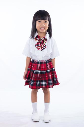 girl wearing school outfit