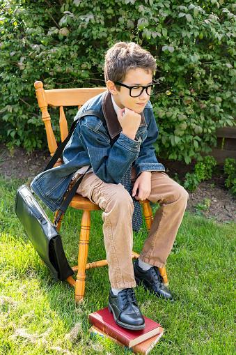 schoolboy wearing chinos pants