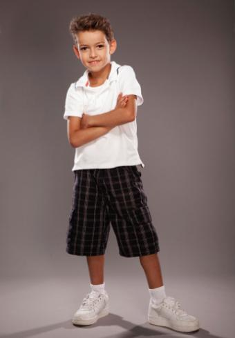 schoolboy wearing madras shorts