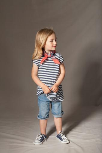Girl in striped top and bandana