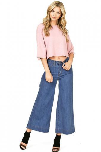 Pink Ice Wide Leg Denim Gaucho Pants