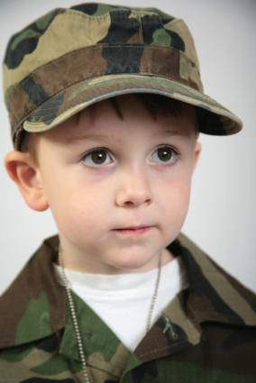 Toddler boy in USMC hat and shirt