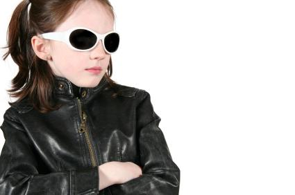 Black leather coat for girls