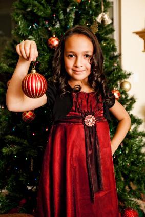 little girl in Christmas dress