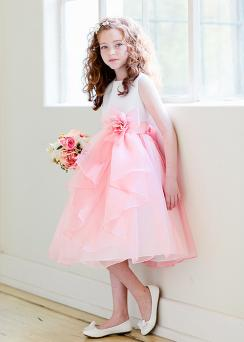 Coral and white special occasion dress