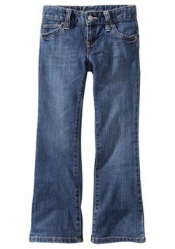 Girls Two-Tone Stitch Boot-Cut Jeans