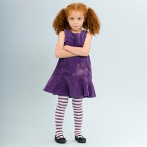 Girl wearing purple striped tights