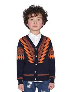 Boy wearing button cardigan over shirt