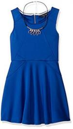 My Michelle Big Girls' Sleeveless Solid A-Line Dress with Necklace