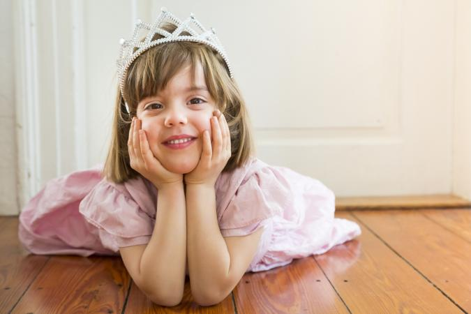 Little girl dressed up as a princess