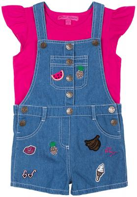 Betsey Johnson Toddler Girls Patch Shortall Set
