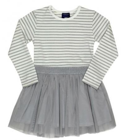 Toobydoo Manami Silver Stripe Tulle Party Dress