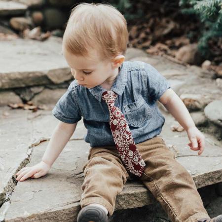 Ron Burgundy Floral Baby Tie