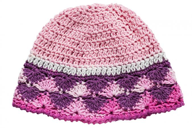 Pink crocheted baby hat