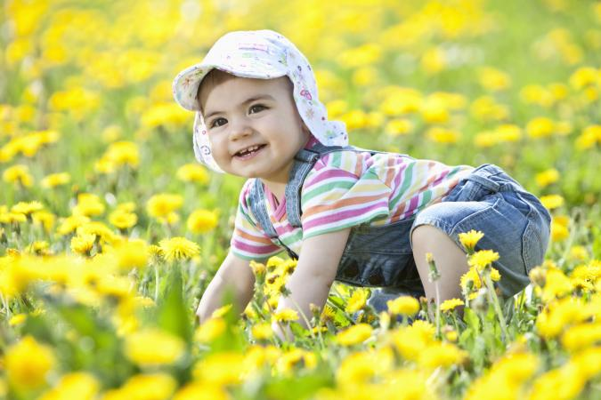 Baby girl crawling in flower field