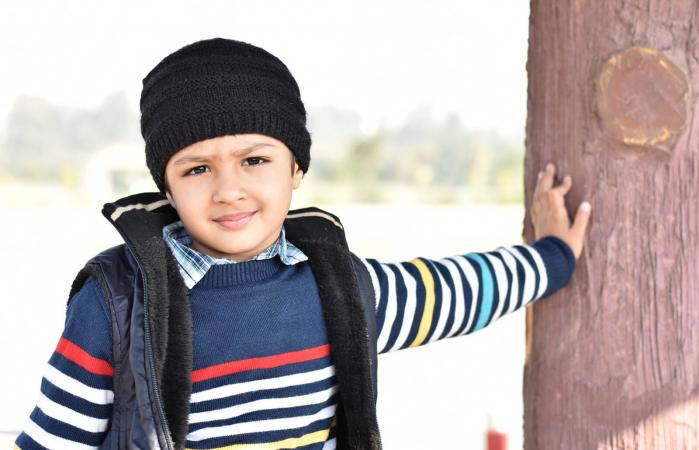 Boy Wearing Warm Clothing