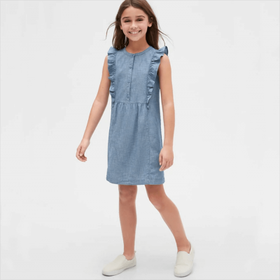 Kids Chambray Ruffle Dress