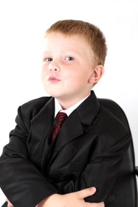 Toddler boy in suit