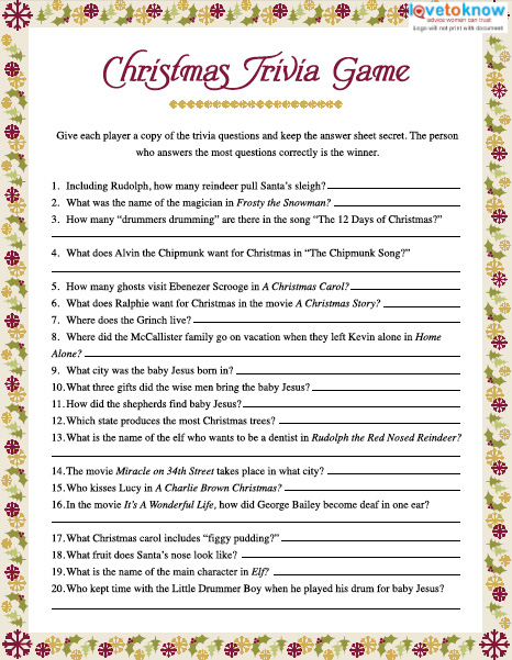 image about Food Trivia Questions and Answers Printable named Xmas Trivia Game titles LoveToKnow