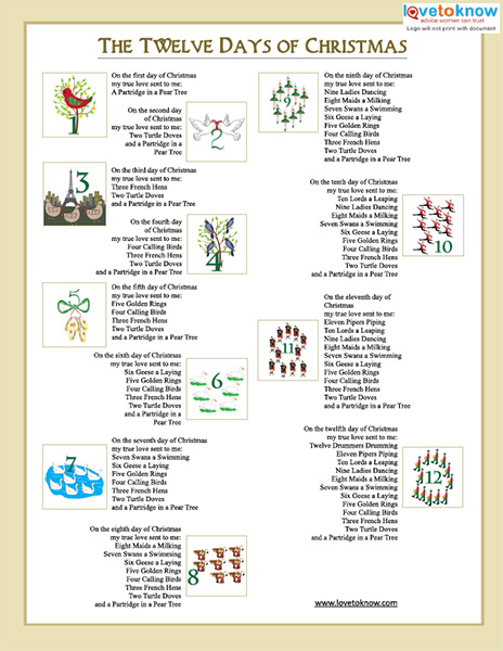 graphic relating to 12 Days of Christmas Lyrics Printable identify Printable Xmas Carols LoveToKnow