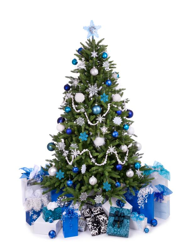 winter blue and white christmas tree