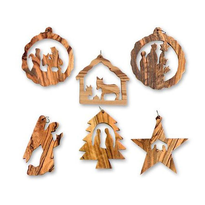 wooden christmas ornament set